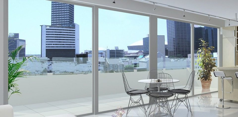 View of private terrace from interior of penthouse